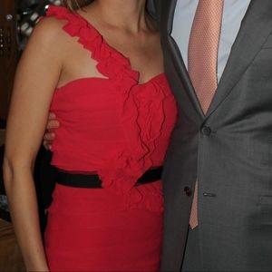 BCBG One-Shoulder Ruffle Cocktail Dress